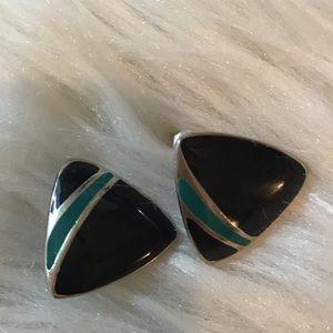 Vintage 90s Triangle Gold Tone Enamel Earrings